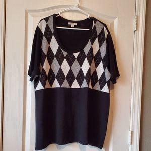 Dress Barn Black & Gray Argyle Sweater